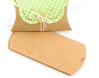 25 - Kraft Pillow Boxes - 2.5 x 4  x 1 inches - Cute Packaging Wedding Party Favors Gift  Box