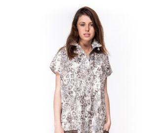 Over size dress \ Short sleeve dress \ dress with buttons \ summer dress