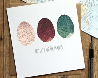 Game of Thrones Birthday Card - Mother of Dragons Card - Mum Birthday Card - Khaleesi - Daenerys Targaryen - Dragon Egg Card - Khal Khaleesi