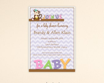 Monkey Baby Shower Invitation, girl, twins, gender reveal, sprinkle, chevron, invite, digital, printable, B1464