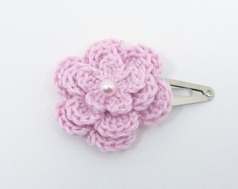 1 Pink crochet flower hair clip ideal stocking stuffer