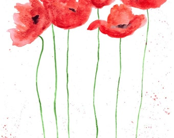 Poppies flowers, ORIGINAL watercolour painting, red flowers 9 x 12 inches gift for her