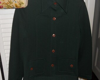 Vintage Sequel I , 100% pure wool Green jacket 1970's, 1980s  hunter green