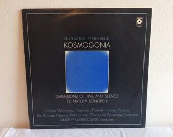 Krzysztof Penderecki/Warsaw National Philharmonic Chorus and Symphony Orchestra : Kosmogonia LP Polskie Nagrania Muza SX 0781