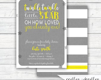 Twinkle Twinkle Little Star Invitation, Baby Shower Invitation, Gender Neutral, Yellow and Gray, Baby Shower, Printed or Printable File