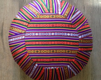 Zafu Style Meditation/Floor Cushion - Bhutanese Fabric - Pouf/Ottoman