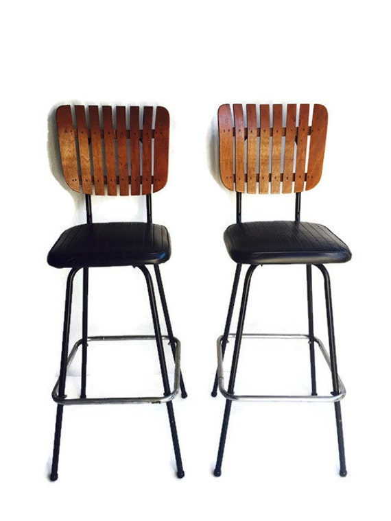 Mid Century Bar Stool Pair Wood Slat Back Black Vinyl Seats