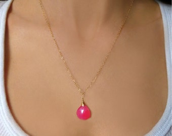 Hot Pink Necklace - Gemstone Necklace - Pink Chalcedony Necklace - Teardrop Necklace - Beaded Gemstone Necklace - Wire Wrapped Necklace