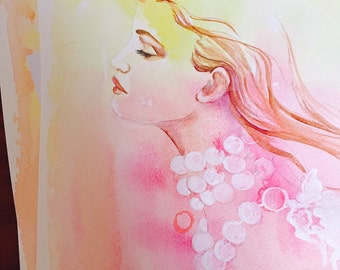 Pink Beauty Fashion Watercolor - Contemporary Painting by Lana Moes - Original Fashion Illustration - Fashion Painting - Soft Colors