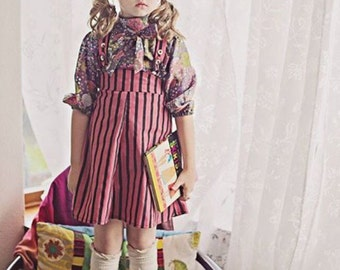 Sale!!! Last one.. Girls Overalls/New Vintage Skirt/70s/style black/pink striped
