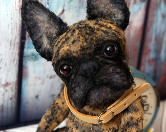 French Bulldog. Teddy dog.  Artist teddy bears. . Portrait your pet. Animalistic gifts. Easter gift