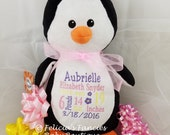 Penguin Personalized Stuffed Animal, Personalized Baby Gift, Cubbie Stuffie with Birth Announcement Info by Felicia's Fancies Baby Boutique