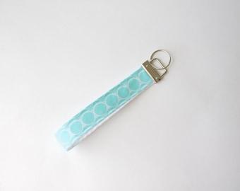Wristlet Keychain-aqua and white, key fob, preppy keychain