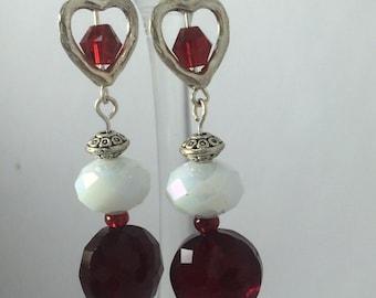 1-Valentine Heart Earrings, Valentine Earrings, Heart Earrings, Silver-tone Earrings, Red Earrings, Red White Earrings, Chandelier Earrings