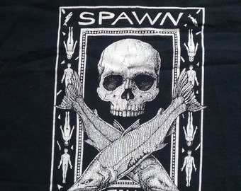 Spawn Till You Die Ray Troll Salmon and Skull T Shirt sz XL Redneck Chic