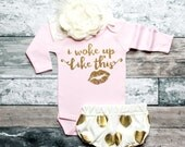 Baby Girl Clothes I Woke Up Like This Girls' Clothing Glitter Shirt Baby Shower Gift Bodysuit Baby Girl Shirt Baby Gift #26