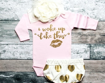Baby Girl Clothes I Woke Up Like This Girls' Clothing Glitter Shirt Baby Shower Gift Bodysuit Baby Girl Shirt Baby Gift #26