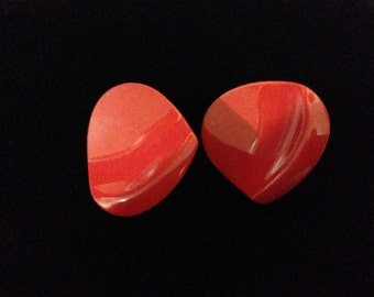 Vintage 1960's Brilliant Red Petal Enamel Earrings (clip-on)