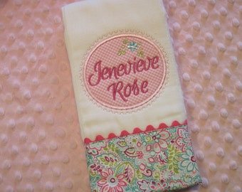 SWEET Adorable Personalized  Burp Cloth