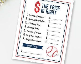 The Price Is Right, Baseball Baby Shower Game, Sports Baby Shower Game, Little Slugger Baby Shower, Red and Navy, INSTANT DOWNLOAD, #S1