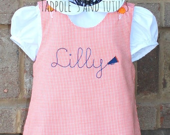 Personalized Gingham A-line Dress- Several colors and designs to choose from