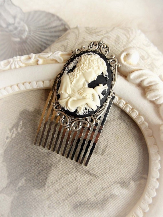 cameo hair comb gothic victorian cameo hair accessories cameo