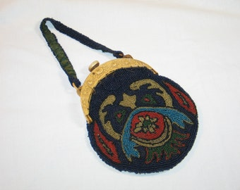 1920s ANTIQUE Made in France Hand Beaded Purse Celluloid-Bakelite or French Galalith Frame-ART DECO Motif
