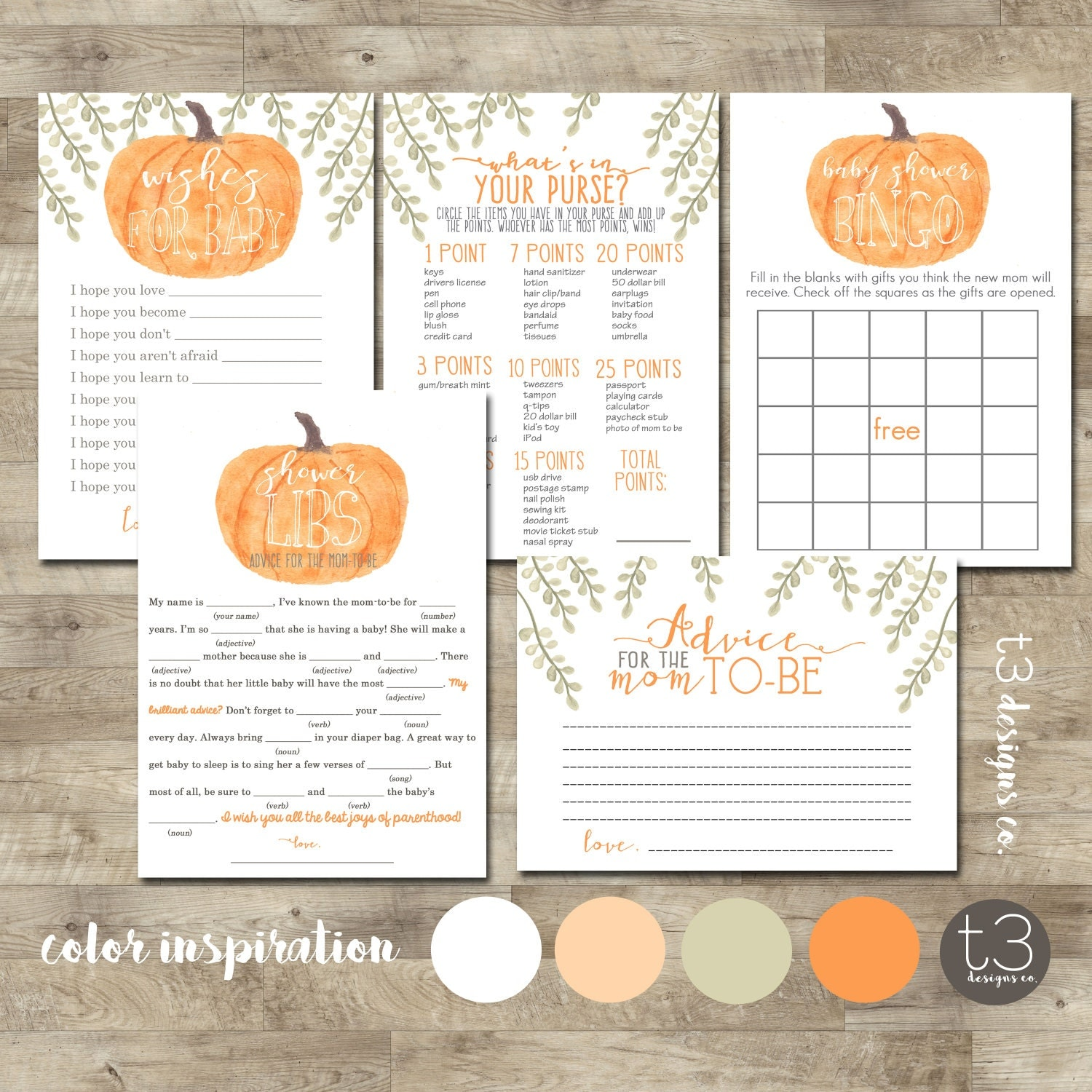 Pumpkin Baby Shower Games Package, Baby Shower games, printable ...