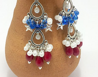 4th of July Earrings,  Czech Glass Pearl & shaggy Drops red white  and blue America Chandelier Jewelry