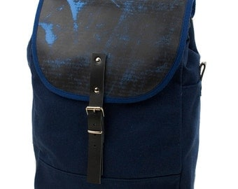 Navy and Sanded Blue NoMad Backpack - Men's Leather and Canvas Backpack - Exclusive Men's Accessories