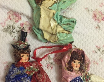Country Handpainted paper mache christmas ornaments