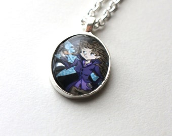 A fairy named DEDUCE Pendant - Art Jewellery - Geeky Victorian Detective Silver Plated Steampunk Illustration Gift Necklace