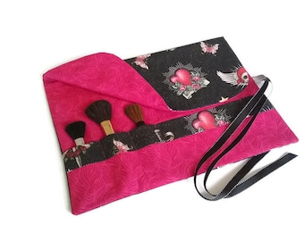 Makeup Brush Roll Hot Pink and Black Tattoo Art Cosmetic Brush Organizer Travel Accessory