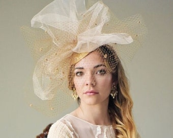 Gold Taupe Fascinator Hat, Preakness, Kentucky Derby Hat, Royal Ascot Hat, Steeplechase Hat, Famous Hat Luncheon Hat, Tea Party, Derby Hat