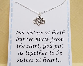 Friendship Quote Gift Idea Sisters at Heart Infinity Heart Necklace Sterling Silver