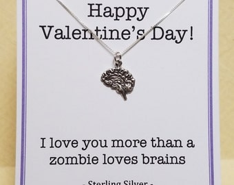 Zombie Valentine Gift Sterling Silver Anatomically Correct Brain Necklace