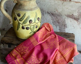 Fuchsia Indian Inspired  Jacquard Cotton Tea Towel  Eco Friendly