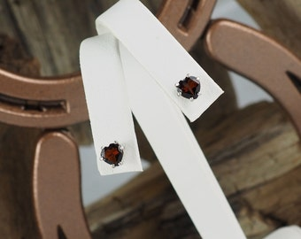 Sterling Silver Post Earrings - Natural Red Garnet Heart Earrings - 6mm Natural Red Garnet Hearts on Sterling Silver Posts