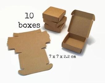 10 KRAFT paper BOX 7x7x2.2 cm (mini large big gift box merchandise box packing box boxes wedding gift wrapping jewelry supply 7)