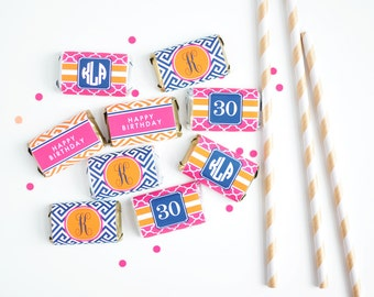 Preppy Party Printable Mini Candy Bar Wrappers - 30th Birthday Favors - 40th Birthday Favors - Adult Birthday Party Printables