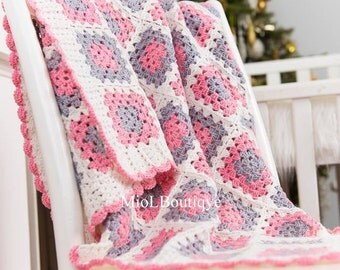 Crochet Baby Blanket Afghan Christening Baptism Baby Girl Crochet Blanket Baby Granny Square Blanket Gift for baby Baby shower gift