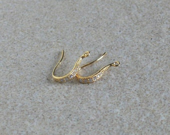 24k Gold Vermeil fancy earwires | Cubic Zirconia encrusted hooks | 1 pair per package | Finish your jewelry with style!
