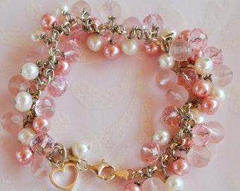 Pink Dangle Bracelet set with sterling silver, pearls, and crystals, dangle bracelet, heart bracelet