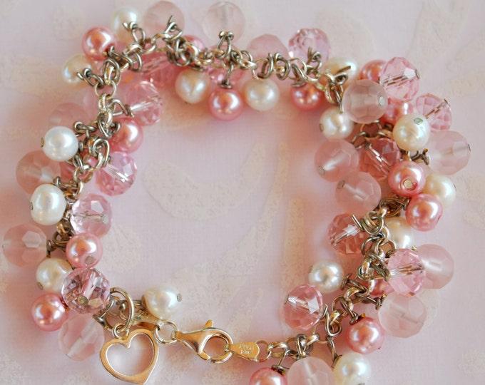 Pink Dangle Bracelet set with sterling silver, pearls, and crystals, dangle bracelet, heart bracelet