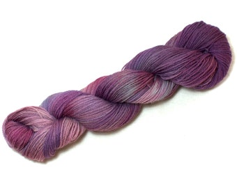 Butterfly Bush – Hand Dyed, Pure Kent Romney Wool Yarn – Purple Pink Green, DK Weight – Variegated Hand Dyed Yarn – double knitting (100g)