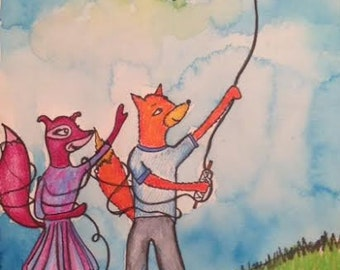 Let's Go Fly a Kite! Original Painting/Illustration