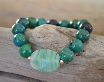 Chrysocolla Bead Bead Bracelet with Green Glass Feature Bead | Stretch Bracelet | Yoga Wrist Mala | Chrysocolla Bracelet | Teal Bracelet