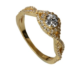Half carat twisted shank Diamond Engagement ring, 18k yellow gold halo engagement ring, 14k micro pave diamonds ring, certified diamond