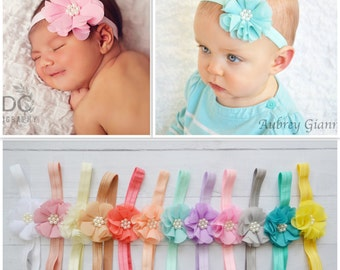 Pick 1 Pearl Flower Headbands, Skinny or Thick elastic, shabby chic headband, headband set, newborn headbands, infant headband, hair bow
