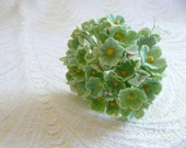 Vintage Paper Forget Me Not Flowers NOS Tiny Leaf Green Bunch for Dolls Crafts Cottage Chic Small Blossoms